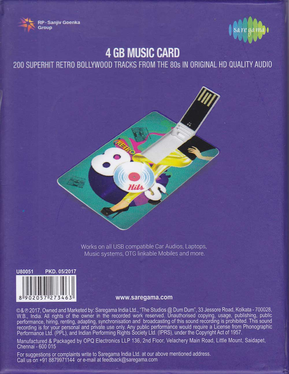 Description - Retro 80s Hindi Songs Music Card