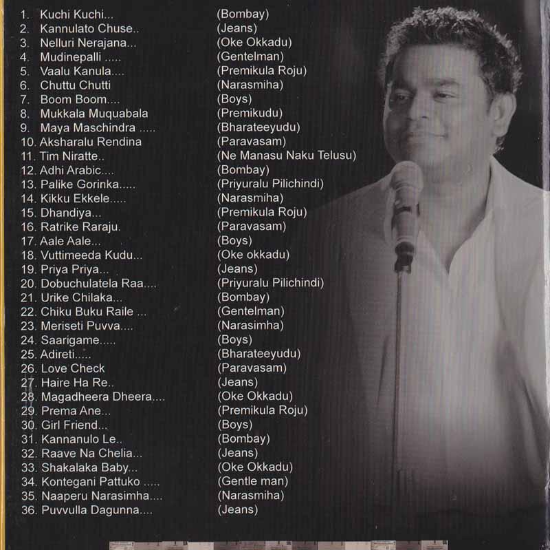 Description - The Golden Collections Of A R Rahman Telugu DVD