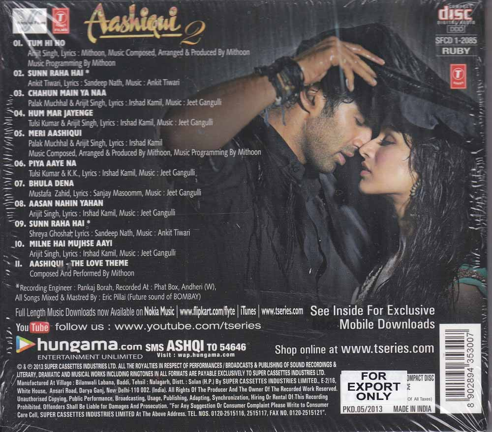 Aashiqui 2 Cd Cover Description - aashiqui 2 hindi